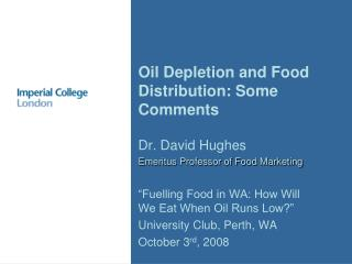 Oil Depletion and Food Distribution: Some Comments