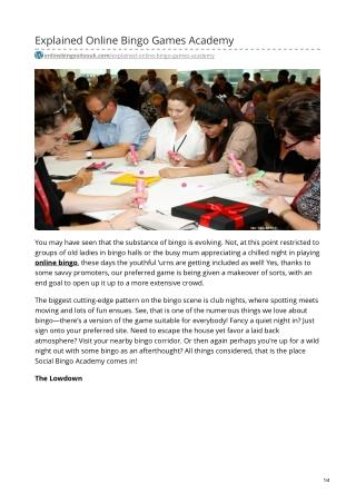 Explained Online Bingo Games Academy