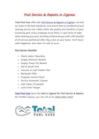 Pool Service & Repairs in Cypress