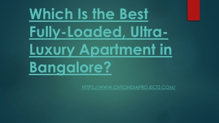 Which Is the Best Fully-Loaded, Ultra-Luxury Apartment in Bangalore?