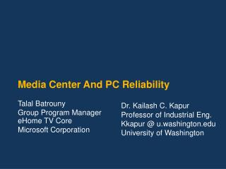 Media Center And PC Reliability