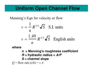 Uniform Open Channel Flow
