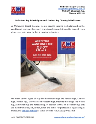 Make Your Rug Shine Brighter with the Best Rug Cleaning in Melbourne
