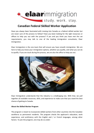 Canadian Federal Skilled Worker Application