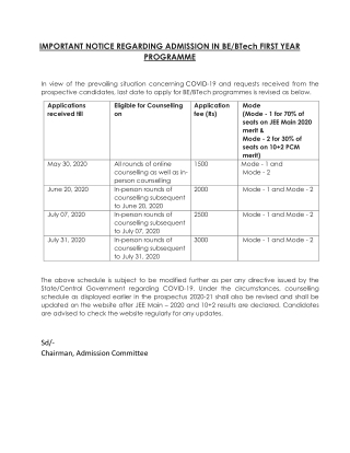 IMPORTANT NOTICE REGARDING ADMISSION IN BE/BTech FIRST YEAR PROGRAMME - TIET