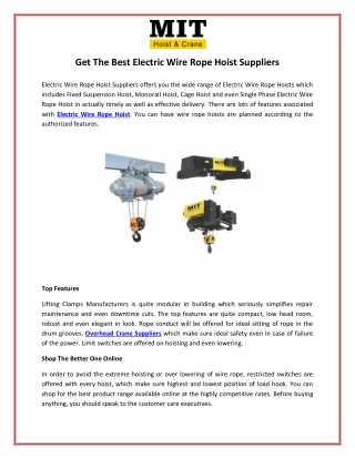 Get The Best Electric Wire Rope Hoist Suppliers