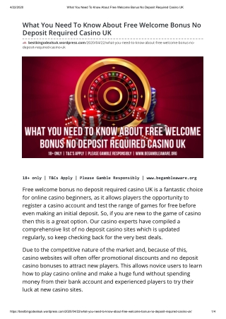 What You Need To Know About Free Welcome Bonus No Deposit Required Casino UK