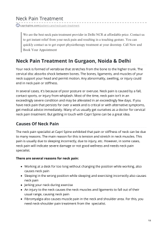 Neck Pain Doctor Near me   Neck Pain Treatment Gurgaon, Delhi