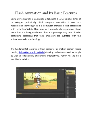 Flash Animation And Its Basic Features