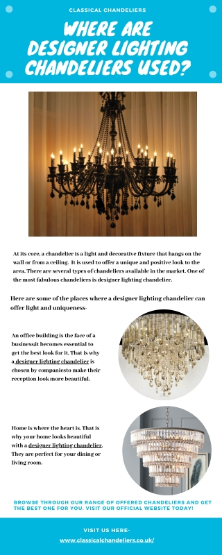 Where are Designer Lighting Chandeliers Used?