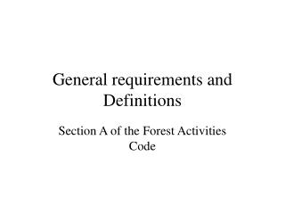 General requirements and Definitions