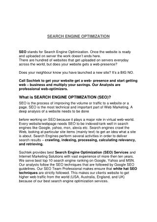 What is SEARCH ENGINE OPTIMIZATION (SEO)? | SEO Service Chandigarh - Sochtek