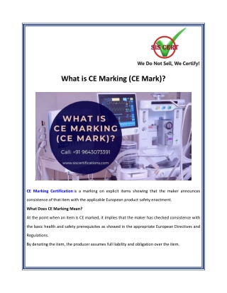 What is CE Marking (CE Mark)?
