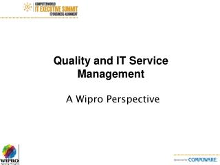 Quality and IT Service Management
