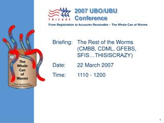 Briefing:  	The Rest of the Worms (CMBB, CDML, GFEBS, SFIS…THISISCRAZY) Date:	22 March 2007 Time:	1110 - 1200