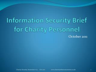 Information Security Brief for Charity Personnel