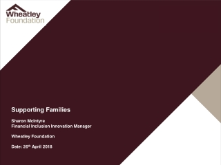 Supporting Families Sharon McIntyre Financial Inclusion Innovation Manager Wheatley Foundation
