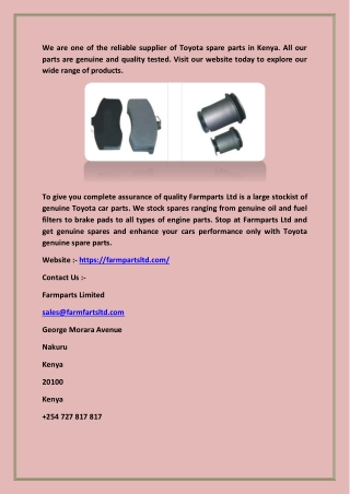 Toyota Car Parts-Genuine Spare Parts