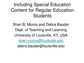 Including Special Education Content for Regular Education Students