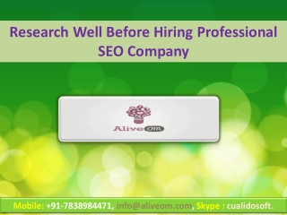 Research Well Before Hiring Professional SEO Company