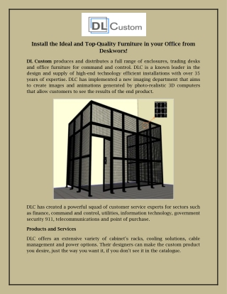 Install the Ideal and Top-Quality Furniture in your Office from Deskworx!