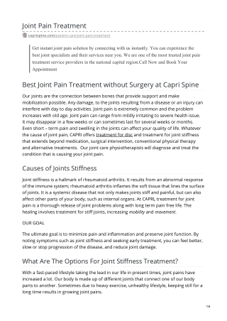 Joint Pain Treatment at Home   Joint Pain, Stiffness Treatment