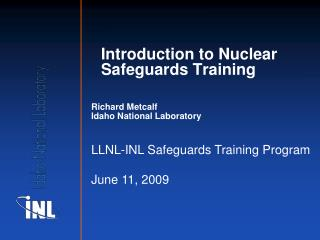 Introduction to Nuclear Safeguards Training