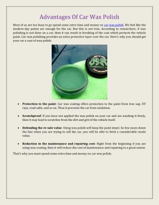 Advantages Of Car Wax Polish
