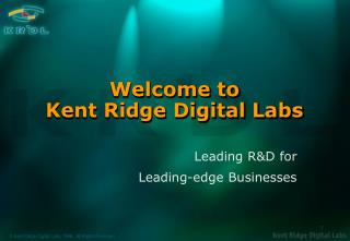 Welcome to Kent Ridge Digital Labs