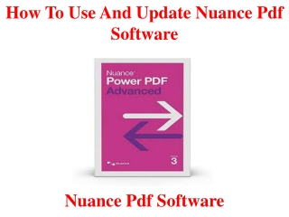 How to use and update nuance pdf software