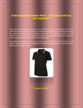 Embroidered Workwear Perth – Why Chef Uniforms Are Important?