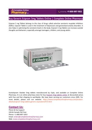 Buy Generic Esipram 5mg Tablets Online-Complete Online Pharmacy