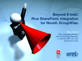 Beyond E-mail:   Riva SharePoint ®  Integration  for Novell ®  GroupWise ®