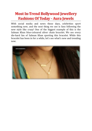 Most In-Trend Bollywood Jewellery Fashions Of Today - Aura Jewels