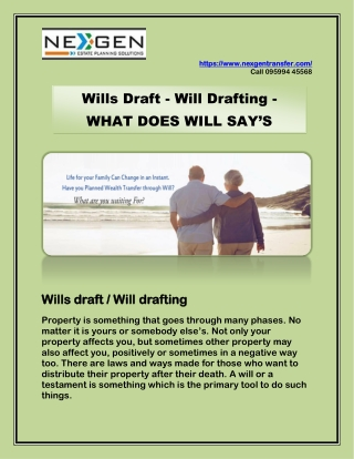 Wills Draft - Will Drafting - WHAT DOES WILL SAY'S