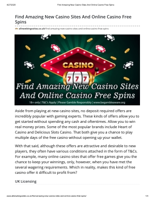 Find Amazing New Casino Sites And Online Casino Free Spins