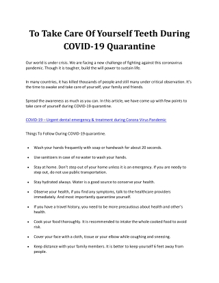 To Take Care Of Yourself Teeth During COVID-19 Quarantine
