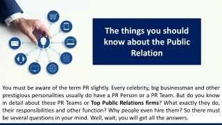The things you should know about the Public Relation