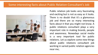 Some interesting facts about Public Relation Consultant's Job