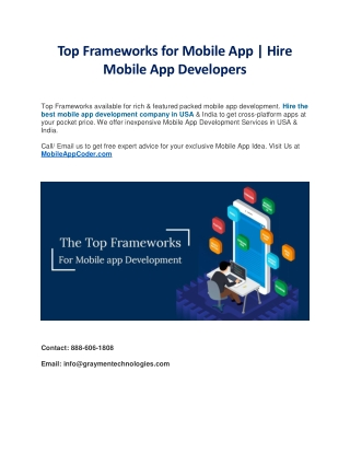Top Frameworks for Mobile App Development