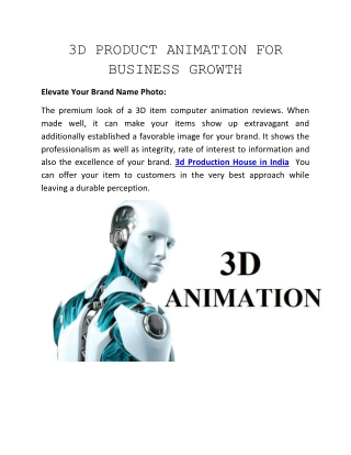 3D PRODUCT ANIMATION FOR BUSINESSGROWTH