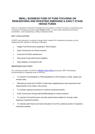SMALL BUSINESS FUND OF FUND FOCUSING ON RESEARCHING AND INVESTING EMERGING & EARLY STAGE HEDGE FUNDS