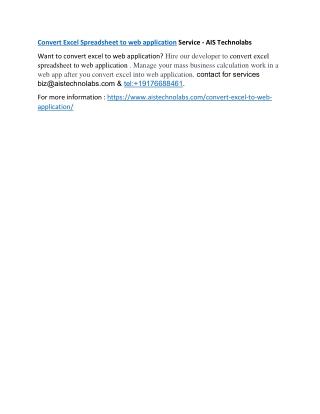 Convert Excel to web application Service - AIS Technolabs
