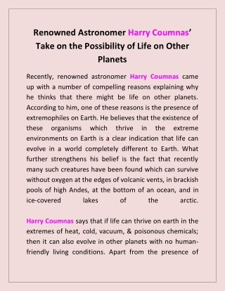 Renowned Astronomer Harry Coumnas' Take on the Possibility of Life on Other Planets