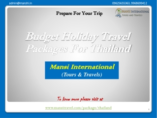 Budget Holiday Travel Packages For Thailand