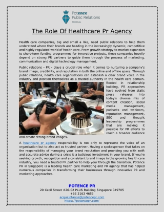The Role Of Healthcare Pr Agency