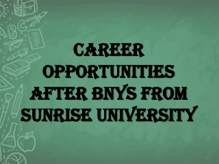Career Opportunities after BNYS from Sunrise University