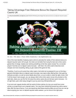 Taking Advantage Free Welcome Bonus No Deposit Required Casino UK