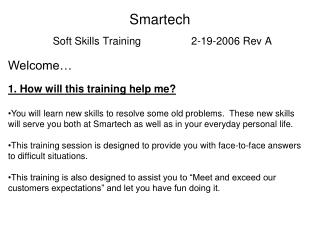 Smartech Soft Skills Training                 2-19-2006 Rev A