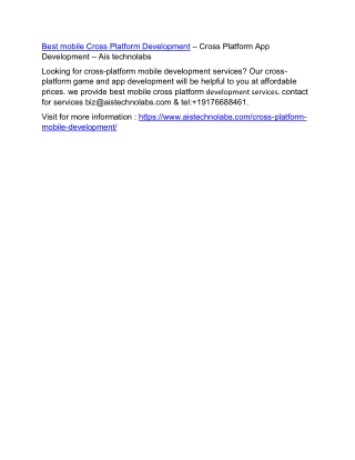 Cross Platform Mobile Development – Cross Platform App Development